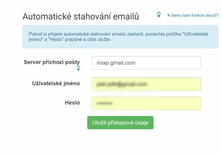 Nastavení načítání došlých emailů